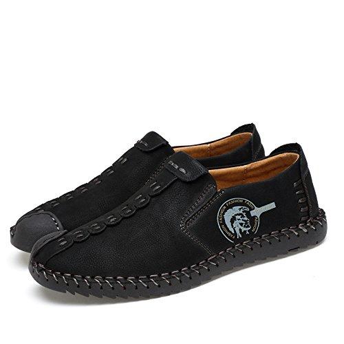 SPEEDEVE Homme chaussures plates occasionnel Conduite mocassins rétro Flâneur à enfiler Baskets Noir