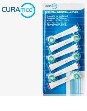 6 Ersatz-Zahnbürsten - passend für Akku-Schall-Zahnbürste Curamed (Ersatz-akku Sonicare)