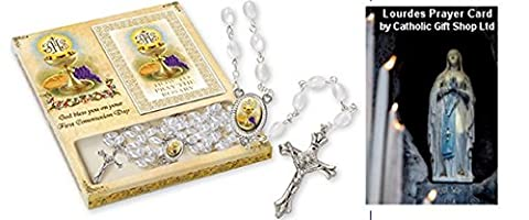First Holy Communion Chalice Rosary Beads with How to Pray the Rosary Prayer Book + LOURDES PRAYER