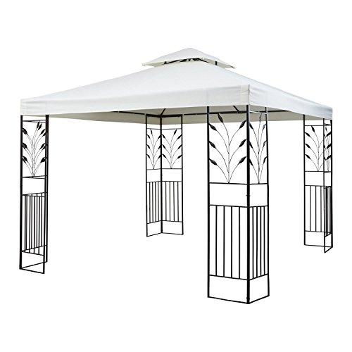 Blumfeldt Odeon Beige • Garten-Pavillon • Partyzelt • Festzelt • Fläche: 3 x 3 m • Stahlrohrrahmen • stabile Konstruktion • witterungsfestes Dach • dekoratives Design • Polyester • hellbeige