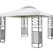 Blumfeldt Odeon Beige Pavillon Carpa para fiestas y jardín (3x3m,dieseño decorativo, película protectora, resistente a intemperie) - crema claro
