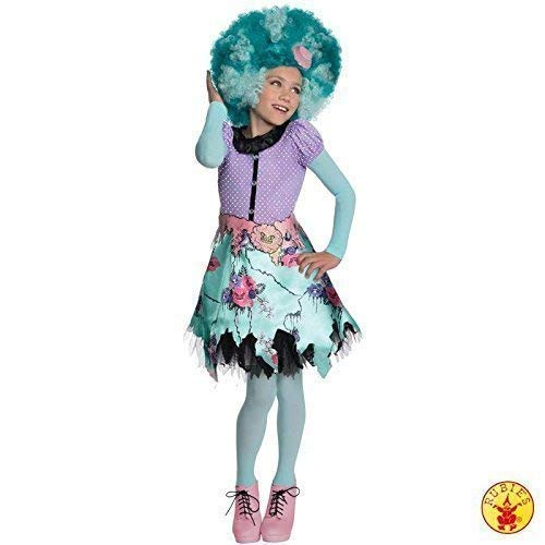 Spectra Kostüm Mit Vondergeist Perücke - Lively Moments Komplettkostüm Monster High Honey Swamp mit Perücke Kleid Gr. L = 140