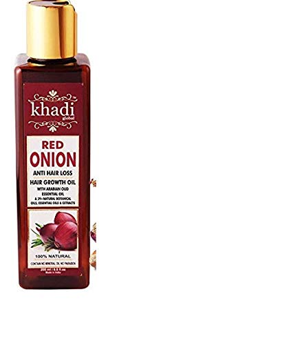 Khadi Global Red Onion Hair Oil for Hair Growth with Argan, Jojoba, Rosemary, Black Seed Oil in Purest Form Very Effectively Control Hair Loss, Gives Hair Growth (200 ml/6.76 fl.oz)
