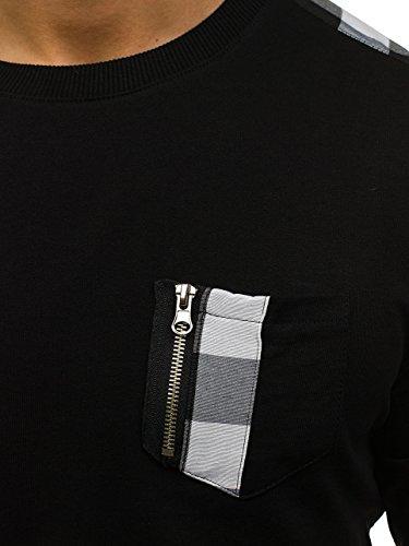 BOLF Felpa – Con cerniere sulle maniche – Tipo Longsleeve – Con motivo – Da uomo 1A1 Nero