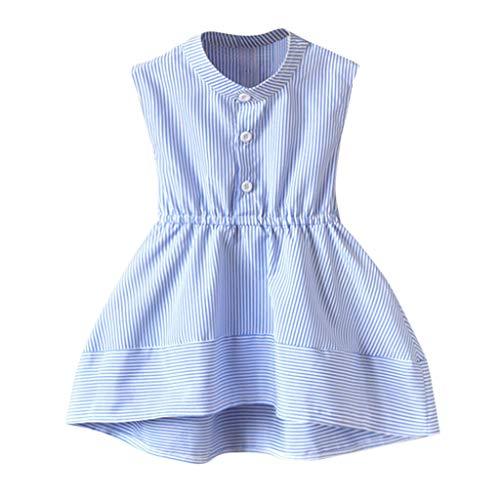 hahashop2 Baby Kinder Mädchen Streifen Prinzessin Festzug Kleider Mini-Rock Sweet A-Linie Prinzessin Kleider(2T-7T)