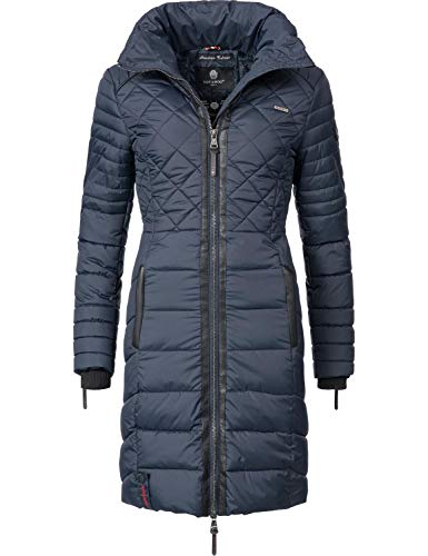 Navahoo Damen Winter-Mantel Steppmantel Ronin Blau Gr. M