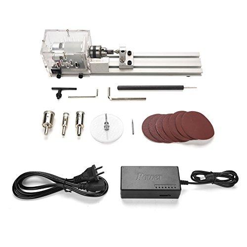 Miniaturdrehmaschine, Sickenmaschine Mini DIY Holzdrehmaschine Miniatur Buddha Perlendrehmaschine Schleifen und Polieren(Standard + Schleiffunktion)