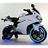 Global Arena 99 Ride on Bike for Kids with 12V Battery Operated, Spring Suspension, Wheels Light, Music Option and Hand Accelerator, White