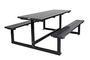 Picknicktisch Design anthrazit 180 cm, Kiefernholz mit Stahlgestell, moderner Picknicktisch