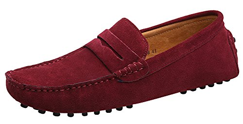 Yaer Mocassins Cuir Suedé Classic Homme Chaussure Rouge