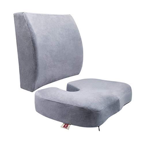 ZHEJIUFA Memory Foam Sitzkissen und Lordosenstütze - Premium Orthopädisches Tailbone Pad für Ischias, Tailbone und Hüftschmerzen Tragbarer ergonomischer Stuhl Sitzkissen - Für Bürostuhl,Indoor (Grau)