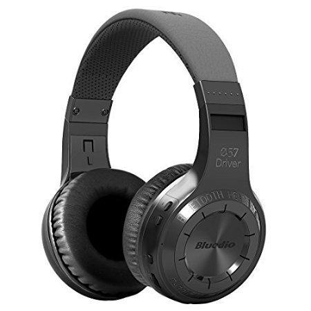 Bluedio H-Turbine Bluetooth stéréo Casque Casque sans fil microphone inséré BT4.1 casque basse puissant jouir de votre musique Circum-Auriculaire casque - Emballage détaillant Publication mondiale.(Noir)
