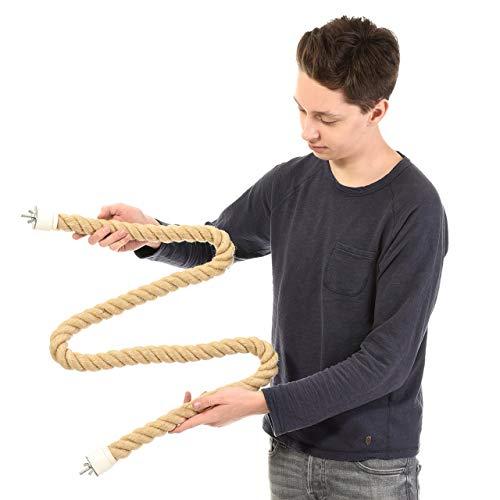 HappyBird ®   160-175 cm beidseitig anschraubbare Sisalstange Seil für mittlere Papageien Sitzseil Graupapagei, Mohrenkopfpapagei
