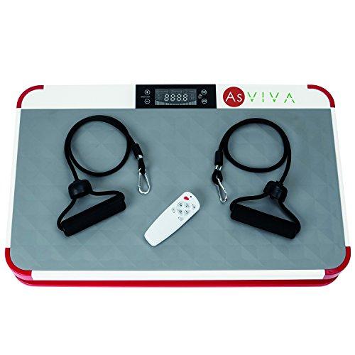 AsVIVA Vibrationsplatte Vibrationstrainer V11 Home mit LED Computer, vertikale Vibrationstechnik - Dämpfung mit Ring-Elastomere, 3-Zonen Trainingsfläche + Fernbedienung
