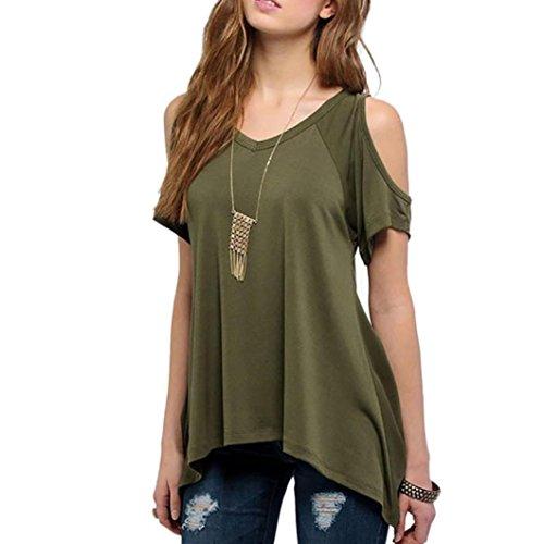 FEITONG Mujeres atractivas del verano V-cuello del hombro de la camiseta de manga corta ocasional del estiramiento de la camiseta sólida Tops (L,
