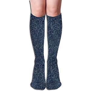 Ccsoixu Tube Knee High Socks,Abstract Artistic Flourish Nature Inspired Pattern Leaves Blossoms,Unisex 19.68″(50CM)