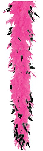 40 Gram Feather Boa Adult Costume Accessory, Hot Pink, Black Tips
