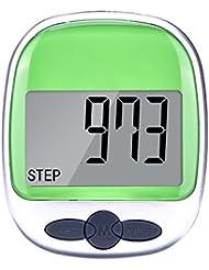 Mudder Poche étape de Podomètre Compteur Walking Distance Compteur de Calories avec Grand Écran LCD et Clip de Ceinture, Vert