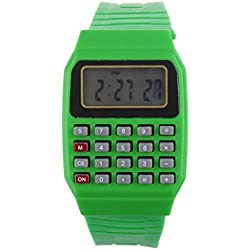 Children Watch,Clode® Unsex Silicone Multi-Purpose Date Time Electronic Wrist Calculator Watch (Green)
