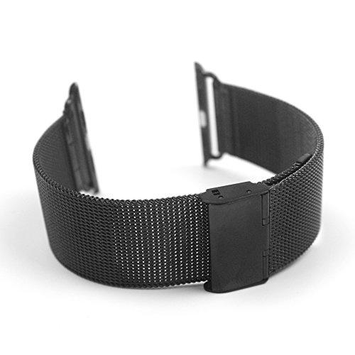 Contever® Inoxidable Malla Correa de reloj - Acero Banda de Reloj / Muñeca Pulsera Cinturón Para Apple Watch / Metal Watch Band Strap Replacement (42mm-Negro)