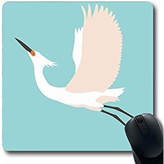 Mousepad Oblong Nature Blue Drawing White Heron Flat Scenic Great Ardea Beak Bird Design Office Computer Laptop Notebook Mouse Pad,Non-Slip Rubber