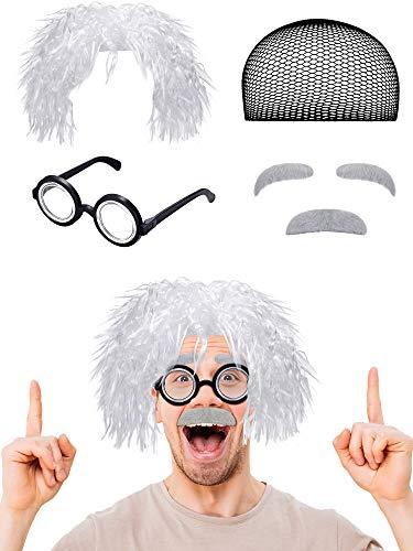 6 Stücke Alter Mann Kostüm Set Enthalten Perücke, Schnurrbart, Augenbrauen, Brille, Perücken Mütze zum Ankleiden von Albert Einstien (Stil - Alter Mann Brille Kostüm