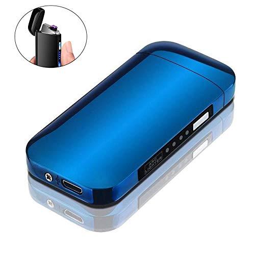 leegoal Briquet électronique Briquet Double Arc Plasma USB Briquet électronique LED Batterie sans Flamme Coupe-Vent Briquet Interrupteur Tactile Bon pour Cigarettes, Bougies et Sport en Plein air
