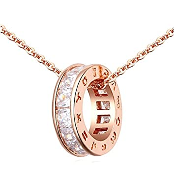 SALE 18K ROSE Gold GP Pure White Swarovski Crystals Chain Pendant Beautiful Necklace