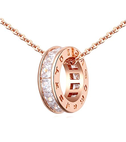 - 41hWm7bczjL - SALE 18K ROSE Gold GP Pure White Swarovski Crystals Chain Pendant Beautiful Necklace