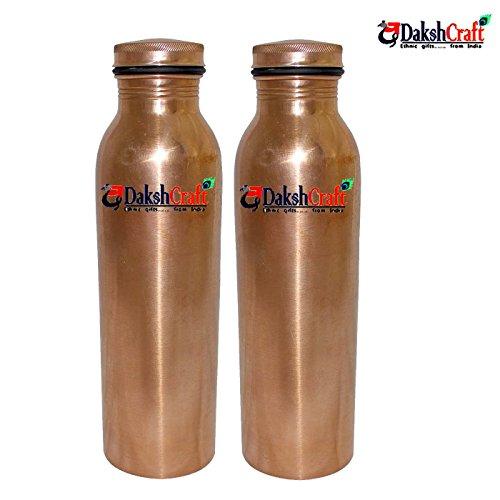 DakshCraft handgefertigt Kupfer Flasche mit Deckel (Kapazität–550ml/18.59oz), Set von 2 (Alle Pur-krug)