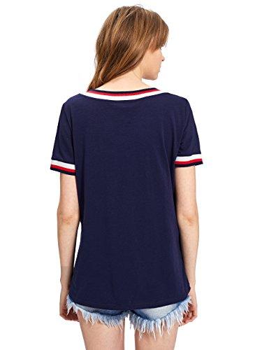 Romwe Damen Sportlich T-Shirt V Ausschnitt Kurzarm Top 1-Marineblau