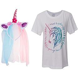 MagiDeal Las Mujeres De Las Niñas Unicornio Camiseta Tops Camiseta M Rose Flor Velo De La Venda Vestido De Lujo