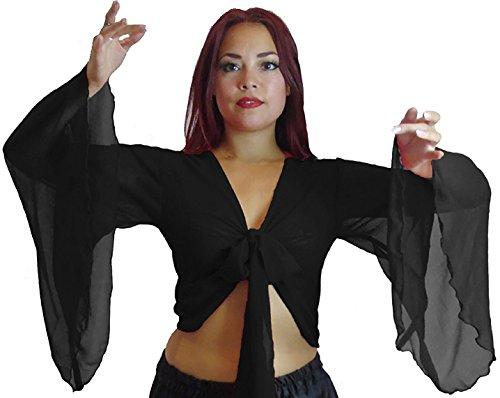 Kostüm Bauchtanz Ats - Bauchtanz Choli Winged Arm Top Tribal Gypsy Kostüm UK Größe 12-24 - bis XXXL (12/14-16, SCHWARZ)