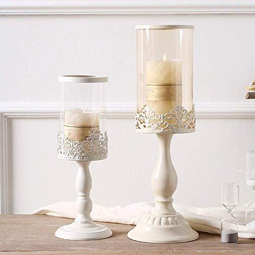 XQY Retro Kerzenhalter Dekoration Kerzenhalter Eisen und Glas Material Winddicht Romantische Mode Haushaltsgegenstände Zwei Größen Schwarz und Weiß Optional,A (11 * 34cm),Weiß