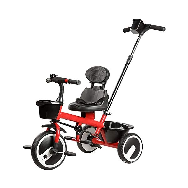 BGHKFF 2 In 1 Children's Hand Push Tricycle 1.5 To 5 Years 2-Point Safety Belt Children's Pedal Tricycle Rear Wheel With Brake Versatile Childrens Tricycles Maximum Weight 25 Kg,Red BGHKFF ★Material: Steel frame, suitable for children aged 1.5-5, maximum weight 25 kg ★ 2 in 1 multi-function: can be converted into baby strollers and tricycles. Remove the hand putter as a tricycle. ★Safety design: golden triangle structure, safe and stable; front wheel clutch, will not hit the baby's foot; 2 point seat belt; rear wheel double brake 1