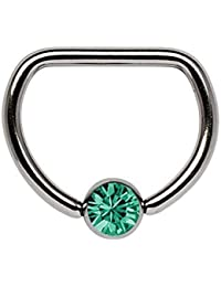 Piercing De Pecho Titanio anillo D 1,6 x 8 mm con 5 mm Bola de piedra en muchos Colores seleccionable
