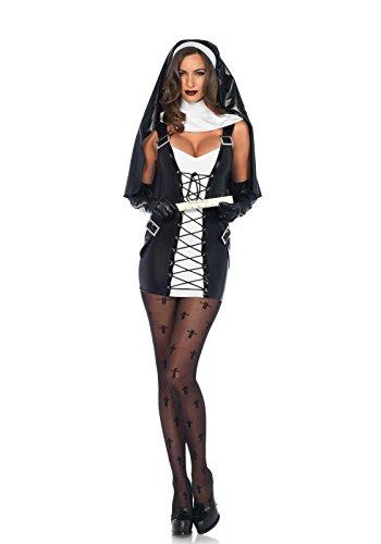 Kostüm Nonne Naughty - Leg Avenue 85609 - Naughty Nun Damen Kostüm, Größe XS (Schwarz-Weiß)