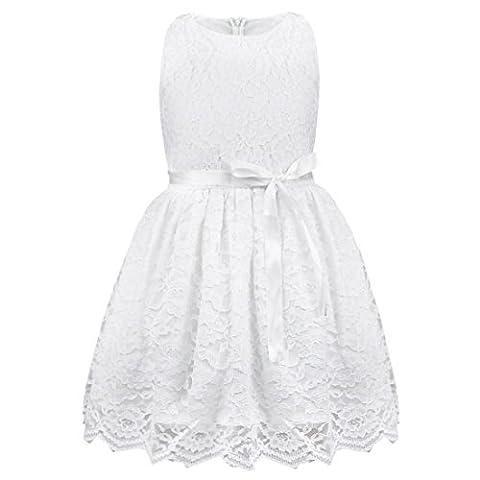 Freebily Kinder mädchen kleid festlich kinderkleid Blumensmädchenkleid Sommerkleid Hochzeit Prinzessin Kleid Partykleid für Mädchen in Gr. 80-140 Weiß 104 (4 Jahre)