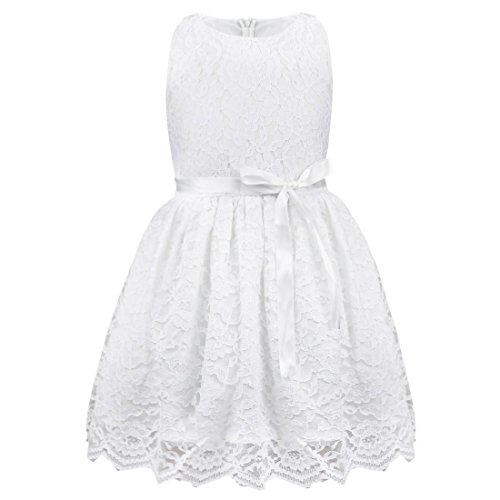 Freebily Kinder mädchen kleid festlich kinderkleid Blumensmädchenkleid Sommerkleid Hochzeit Prinzessin Kleid Partykleid für Mädchen in Gr. 80-140 Weiß 110 (5 Jahre)
