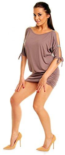 Zeta Ville - Mini Robe - Sexy Robe de club dégageant les épaules - Femme - 157z Cappuccino