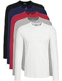 Lower East T-shirt à manches longues pour homme, Lot de 5