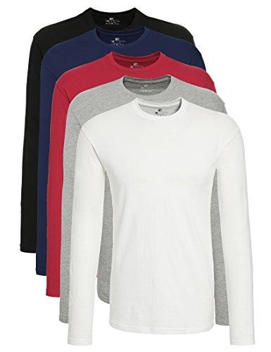 Camiseta de Manga Larga con Cuello de Pico, Pack de 5, Multicolor (Schwarz/Weiß/Navy/Grau/Rot Schwarz/Weiß/Navy/Grau/Rot), 3X-Large Lower East