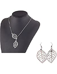 TBOP NECKLACE THE BEST OF PLANET Simple And Stylish LEAF Fashion Jewelry Of Metal Double Leaves Necklace&earring...