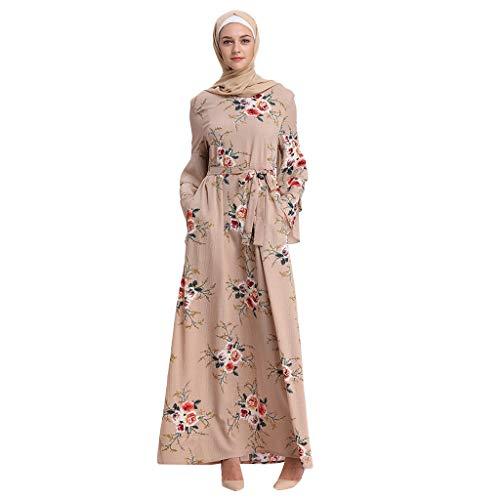 GJKK Muslim Blumenkleid Muslimische MaxiKleid Muslimische Roben Trompete Ärmel Stickerei Muslimische Elegantes Swing-Kleid Schwarz/Rot/Weiß/Gelb -