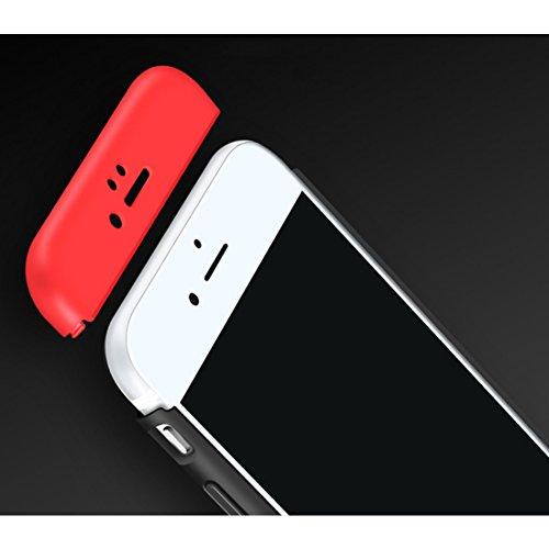 Qissy®3 in 1 Ultra Dünner PC Harte Case 360 Grad Schutzharte iPhone 6 Plus 6s Plus Fall Premium mattierte Schutzhülle (iPhone 6 Plus 6s Plus, Schwarz + rot) Silber Schwarz