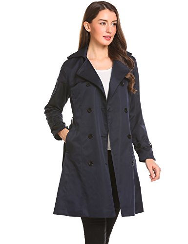 Zeela Damen Klassischer Doppel-breasted Trenchcoat mit Gürtel Langer Warmer Mantel Übergangsmantel Dunkelblau