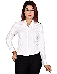 Black & White Formal Shirt for girls/women-formal Shirt for Women-ONLY BEST QUALITY FULL Sleeves STRETCHABLE Shirtwe keep- size available -(Medium,Large,XL,2XL,3XL)-Official Shirtfor Team Meetings-Office Shirt-Buttoned-Looks Attractive,adorable in formal Attrire-Best fitted by Roop Trading Co