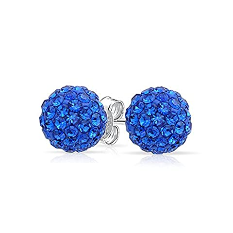 Simulated Sapphire Crystal 925 Silver Shamballa Inspired Stud Earrings