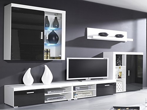 gamma living room set high gloss package wall units tv stand
