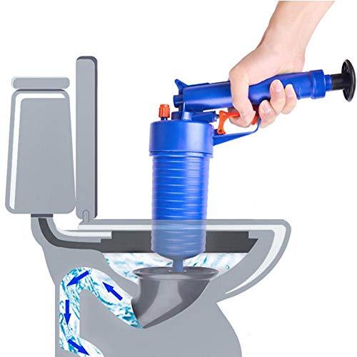 E-future eFUture Toilettenkolben - Luftstrom-Abfluss-Blaster Pistole, Hochdruck-Pumpe, manueller Abflussöffner mit 4 Adaptern für Bad Toiletten, Badezimmer, Dusche, Küche verstopfte Rohre Badewanne